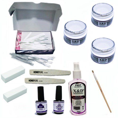 Kit Unha Gel Fibra De Vidro 3 Gel Clear 15gr Top Coat Prep Pincel Lixas