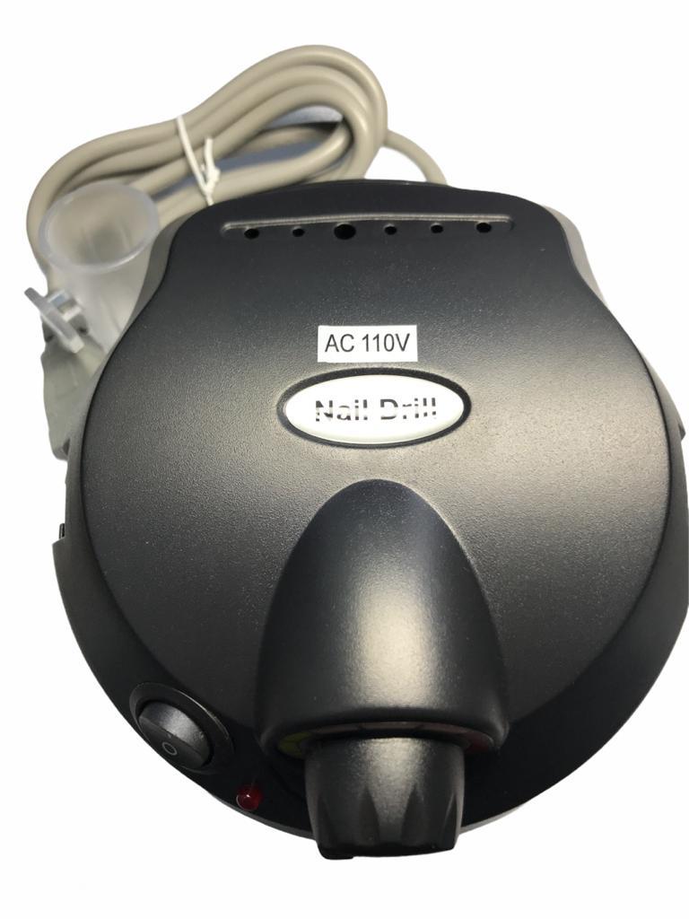 Lixadeira Motor Elétrica Unha Profissional Preta Nail Drill 110v