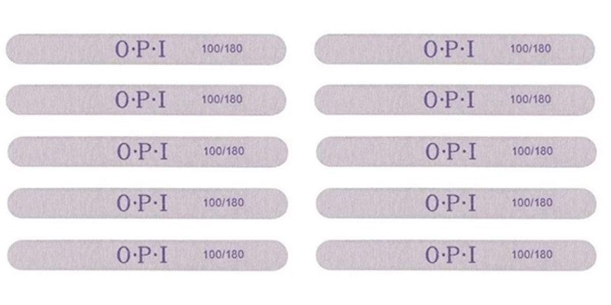 Lixas Reta 100/180 OPI Para Unha De Gel Acrílico Fibra Profissional c/ 10 un