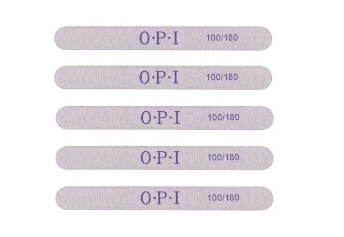 Lixas Reta 100/180 OPI Para Unha De Gel Acrílico Fibra Profissional c/ 5 un