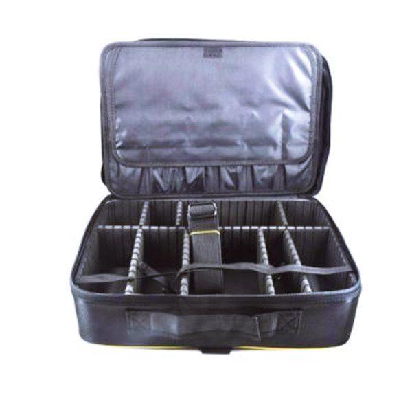 Maleta Bolsa Porta Maquiagem Esmalte Pincel Manicure Preto Com Dourado