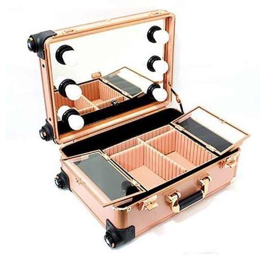 Maleta De Maquiagem Camarim Profissional Pequena Dourada