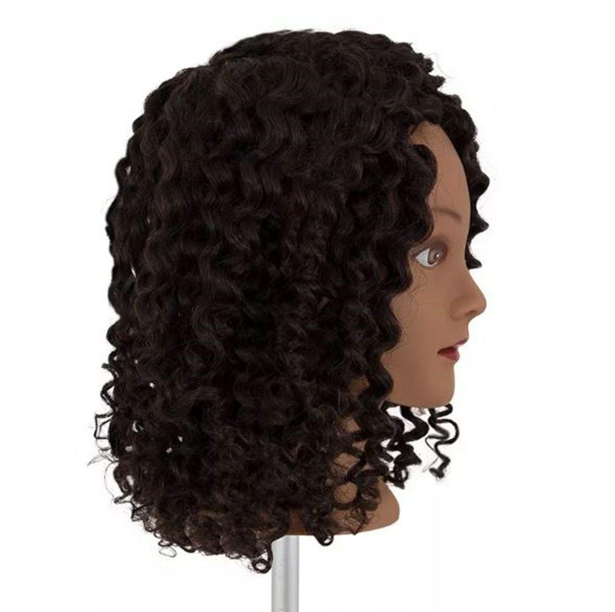 Manequim Cabeça De Boneca 100% Natural Afro Cacheado 40Cm E Suporte