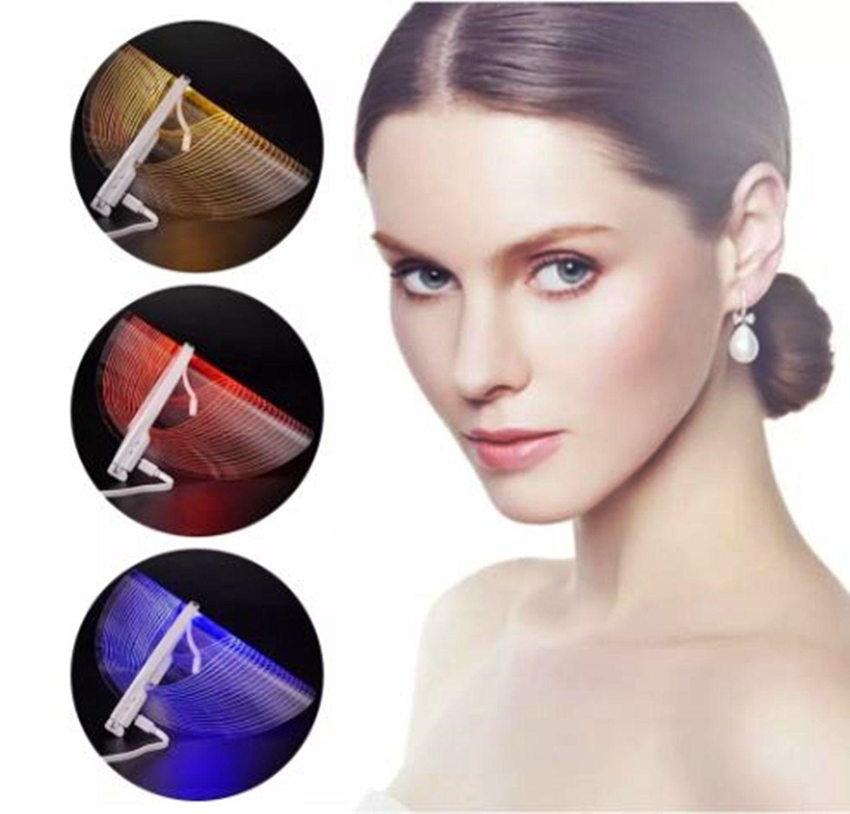 Mascara Facial De Led 3 Cores Tratamento Estético Fototerapia Limpeza De Pele