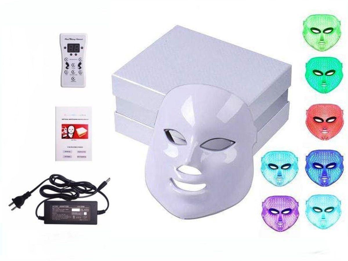 Máscara Led 7 Cores Estética Tratamento Facial Fototerapia