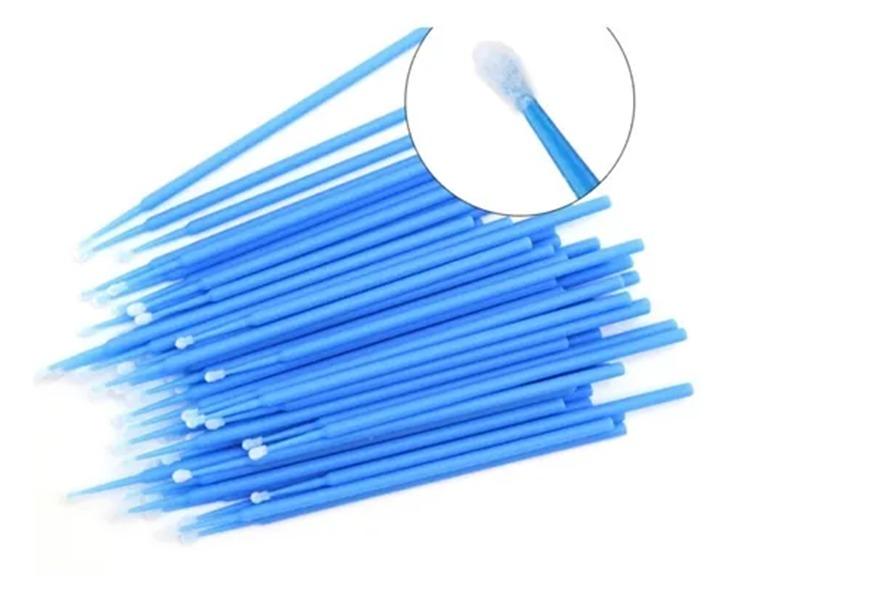 Microbrush Cotonete Para Alongamento De Cílios 100 Unidade Azul