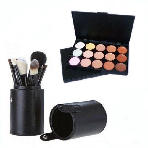 Pincel Maquiagem Profissional Kit C/ 12 Preto + Paleta Base e Corretivo