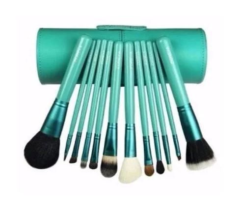 Pincel Maquiagem Profissional Kit C/ 12 Verde