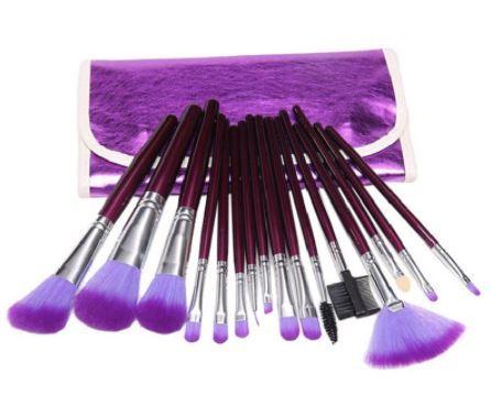 Pincel Maquiagem Profissional Kit Com 16 Pincéis Roxo