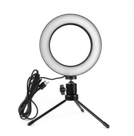 Ring Light Led Mesa Iluminador 8 Polegadas 20cm Tripé Pequeno USB