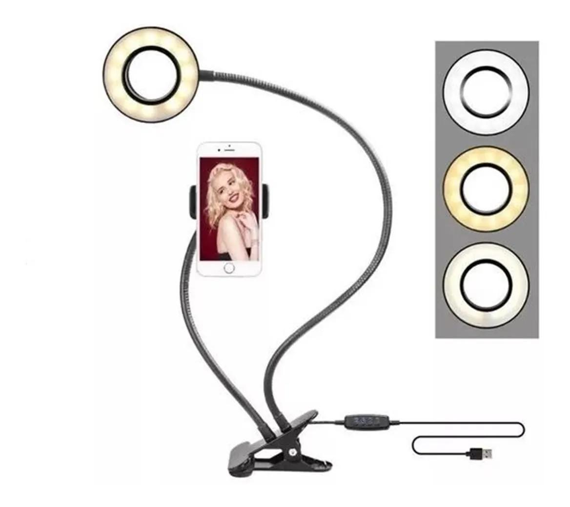 Suporte Celular De Mesa Luminária M020 Ring Light Led Selfie
