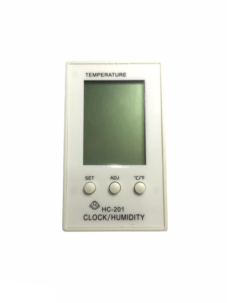 Termo-higrômetro Branco Digital Termômetro Higrômetro Relógio HC 201