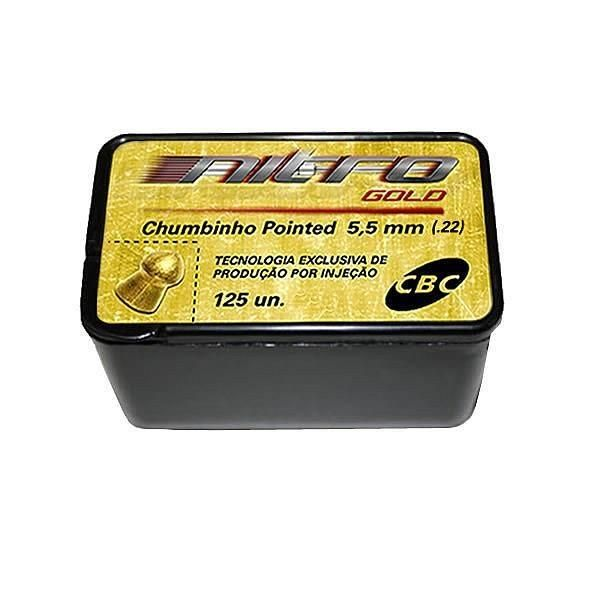 Chumbinho Nitro Gold Pointed 5.5 mm c/ 125 Unidades - CBC