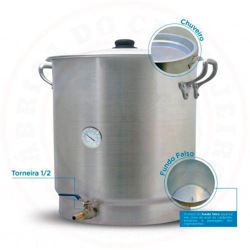Caldeirão Cervejeiro com Fundo Falso e Chuveiro D45 71L com Termômetro e Válvula