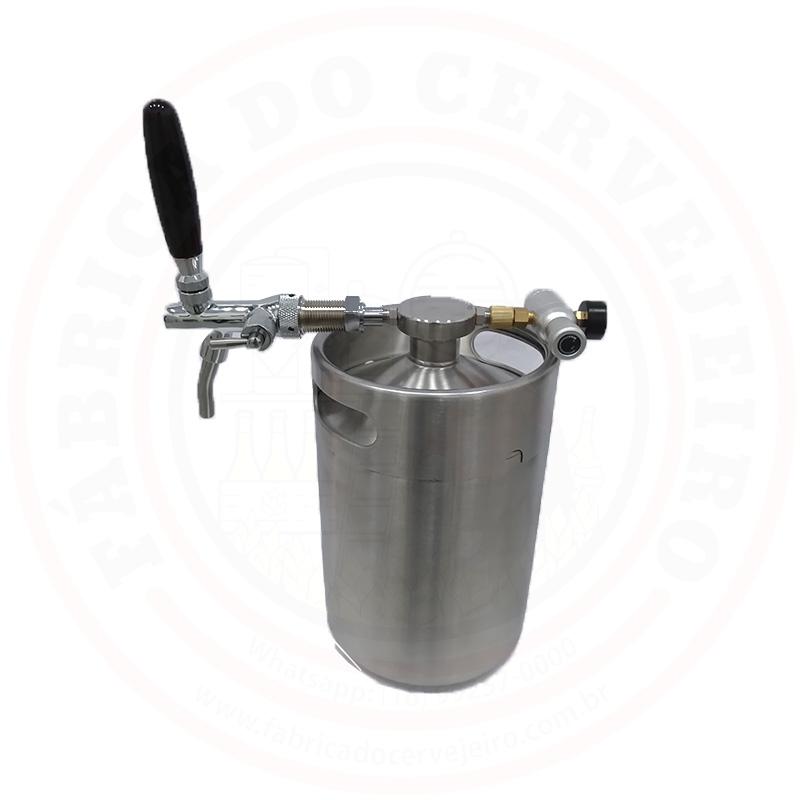 Chopeira Mini Keg 5 Litros Com Torneira Italiana, Regulador e Valvula Extratora de Growler