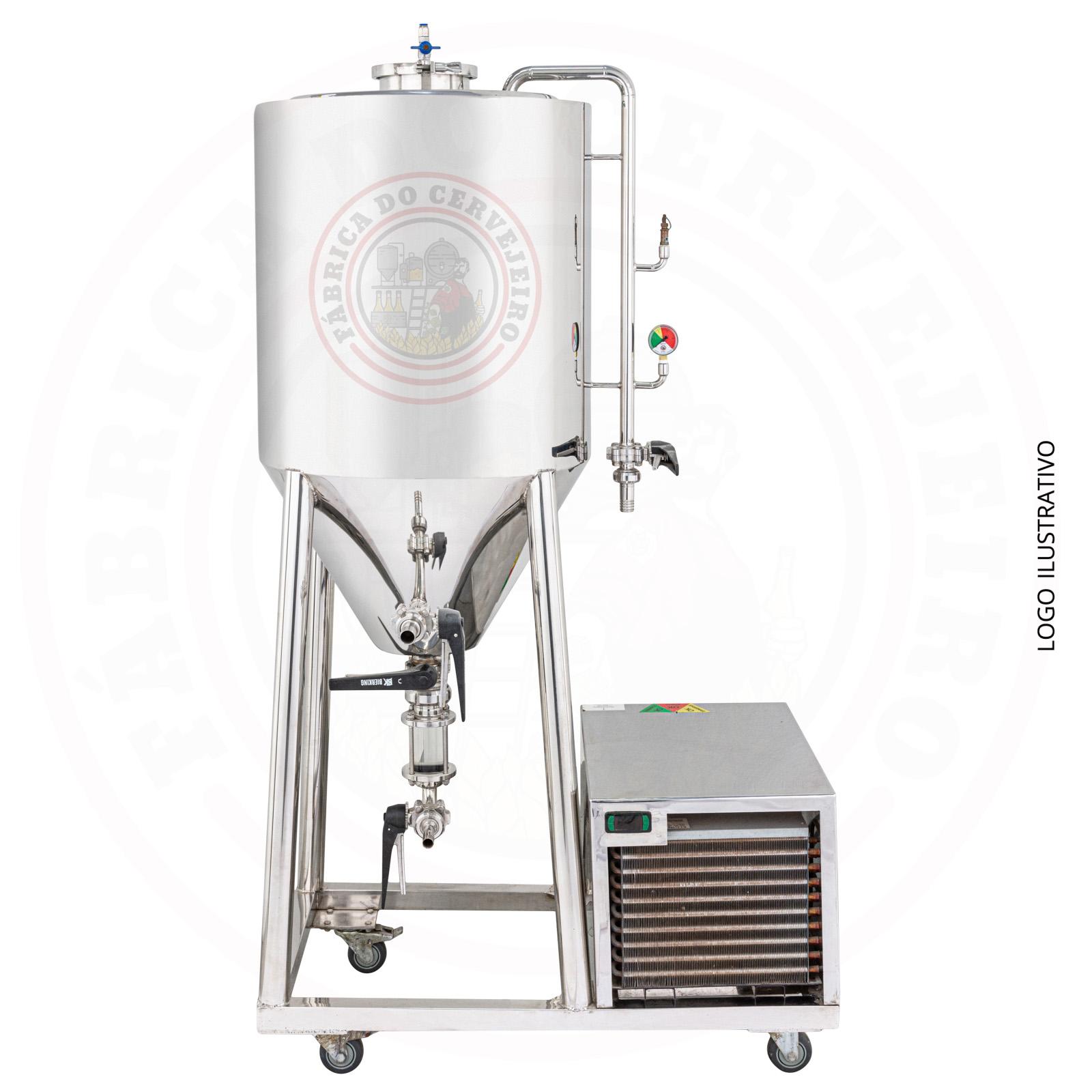 Fermentador 110Litros refrigerado com visor de linha Inox 304