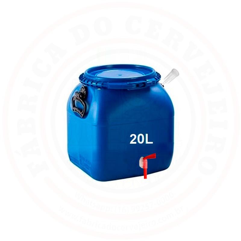 Fermentador Bombona Com Torneira e Airlock Cor Azul 20 litros