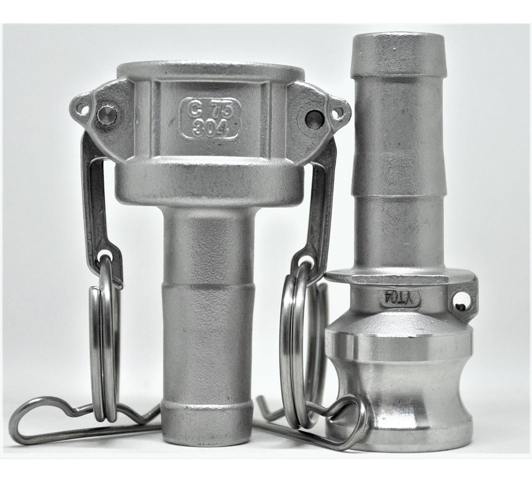Kit 3 Conjuntos Engate Rápido Acoplador + Adaptador 3/4 inox 304 para Mangueiras