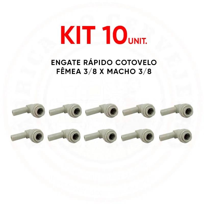 Kit Com 10 Engate Rápido Cotovelo Fêmea 3/8