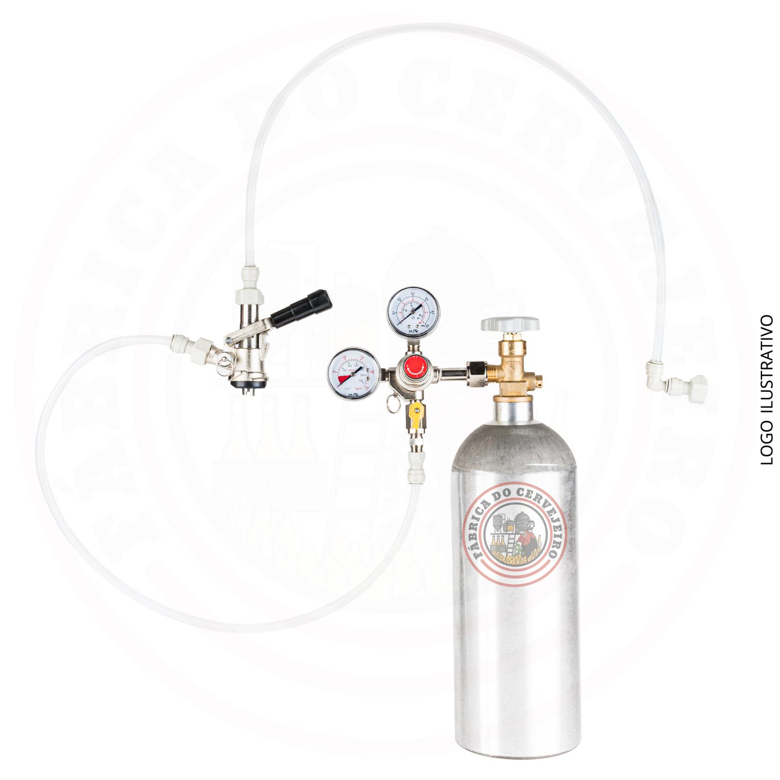 kit extração para barril tipo S engate rápido com regulador de pressão importado e cilindro 2,3 kg