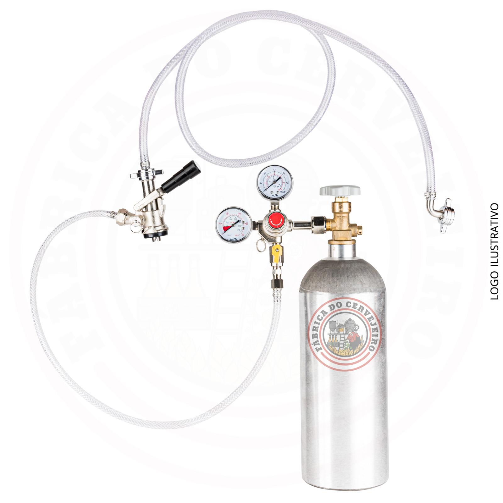 kit extração para barril tipo S com regulador de pressão importado e cilindro 2,3 kg