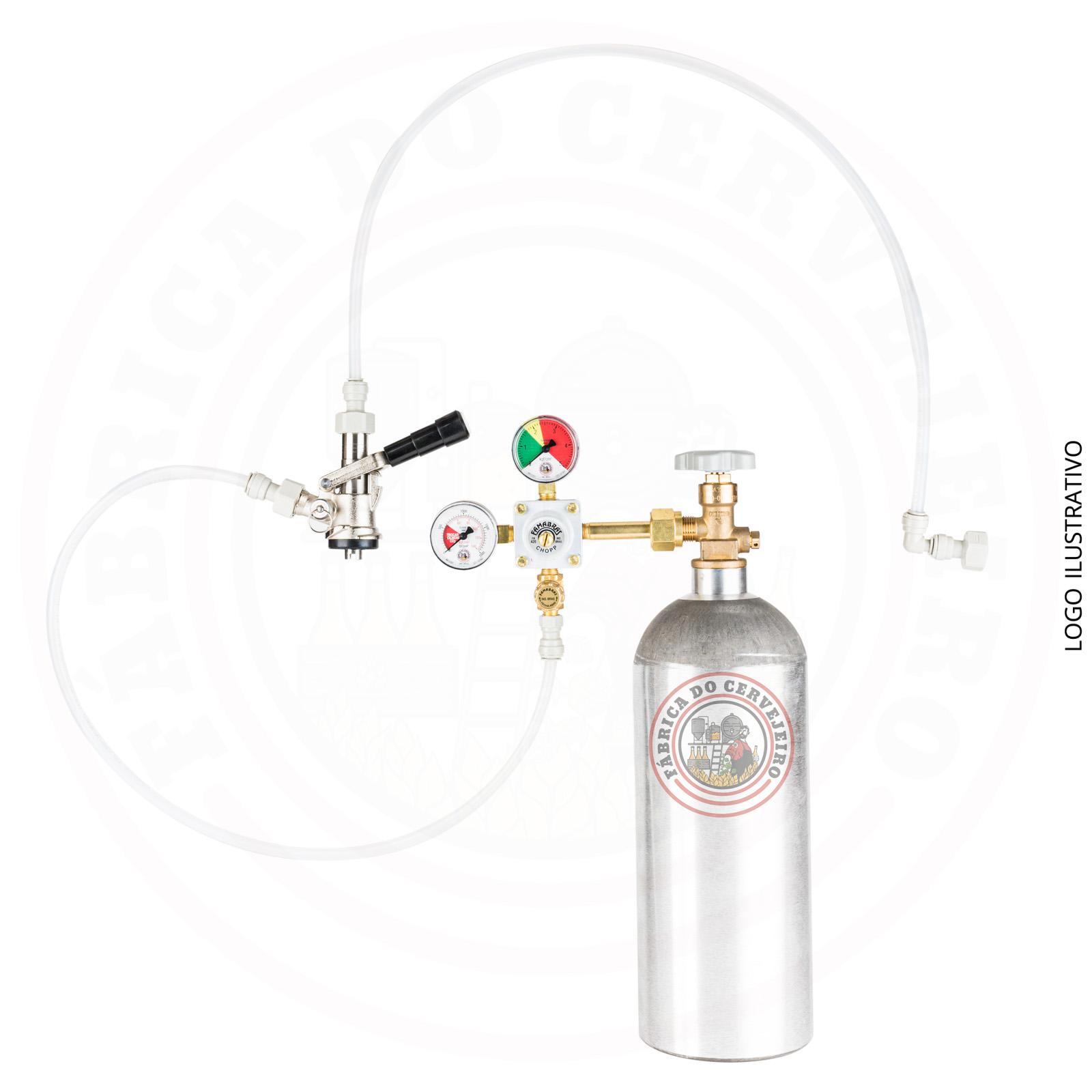 kit extração para barril tipo S engate rápido com regulador de pressão famabras e cilindro 2,3 kg
