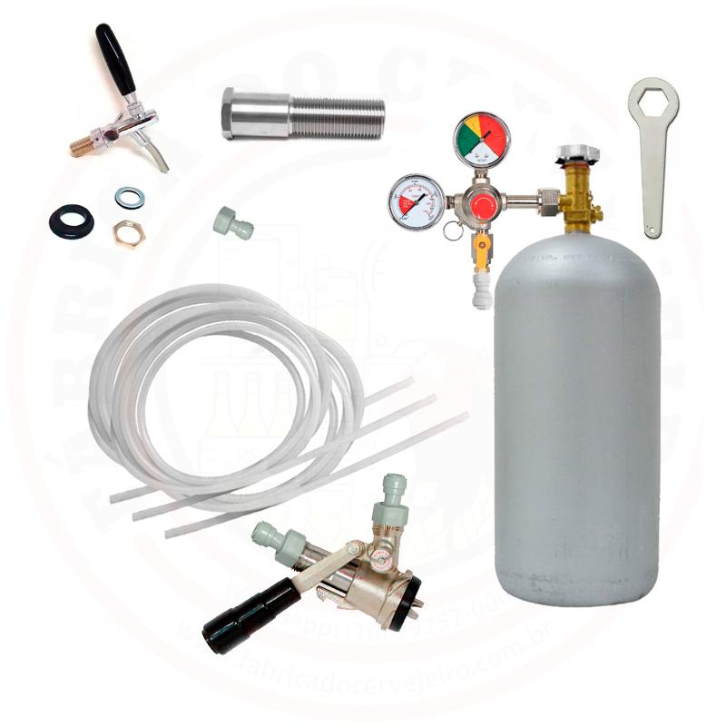 Kit Kegerator com 2 Torneiras 2 Válvulas para Barril Ambev e Cilindro CO2 4Kg Completo
