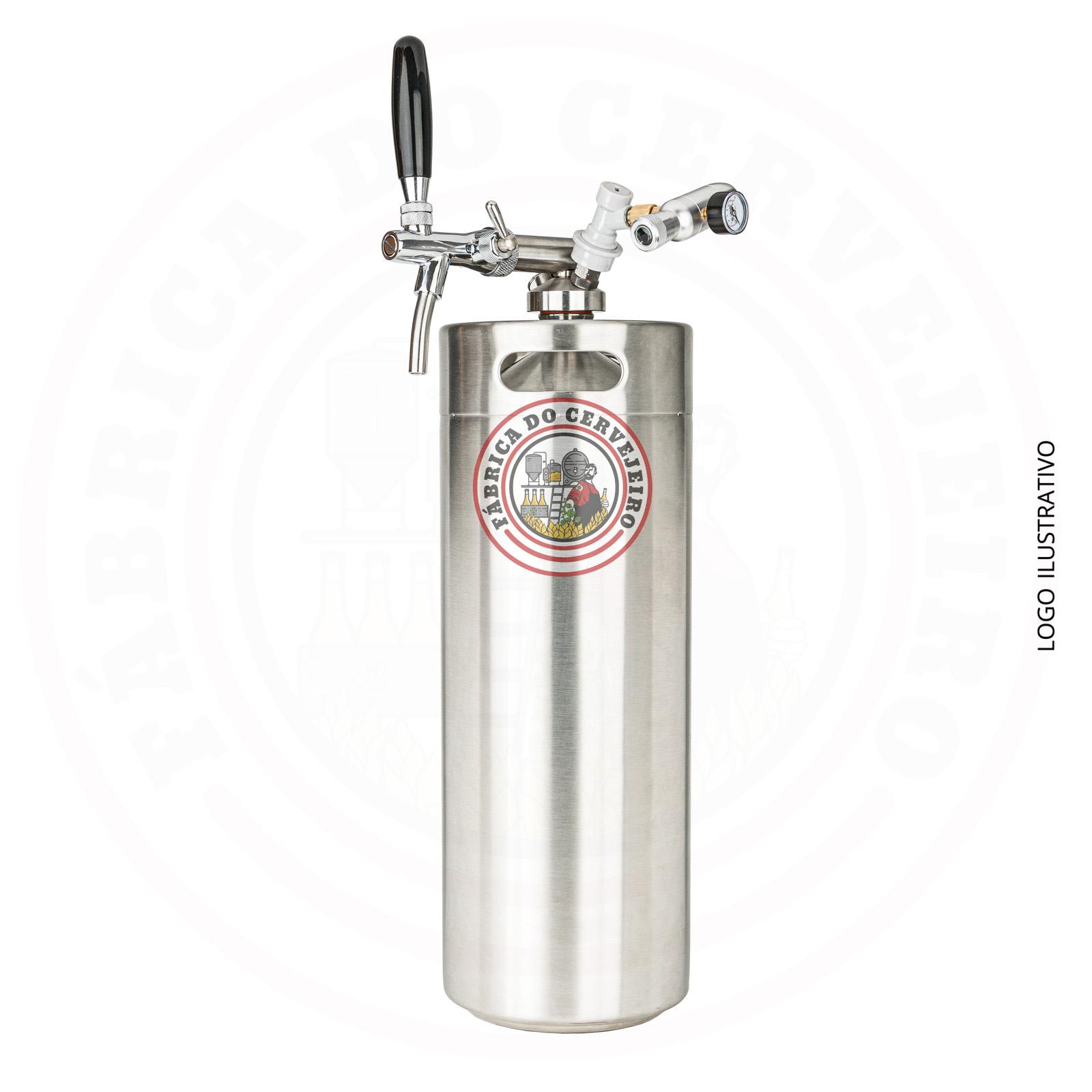 Kit mini keg growler 10L com torneira italiana e mini regulador hobby