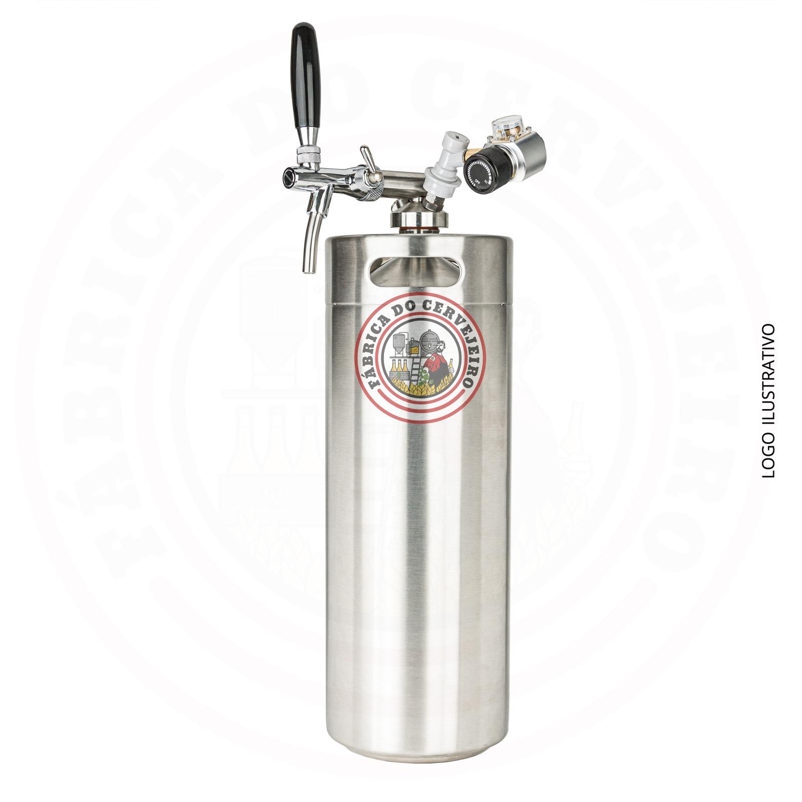Kit mini keg growler 10L com torneira italiana e mini regulador profissional