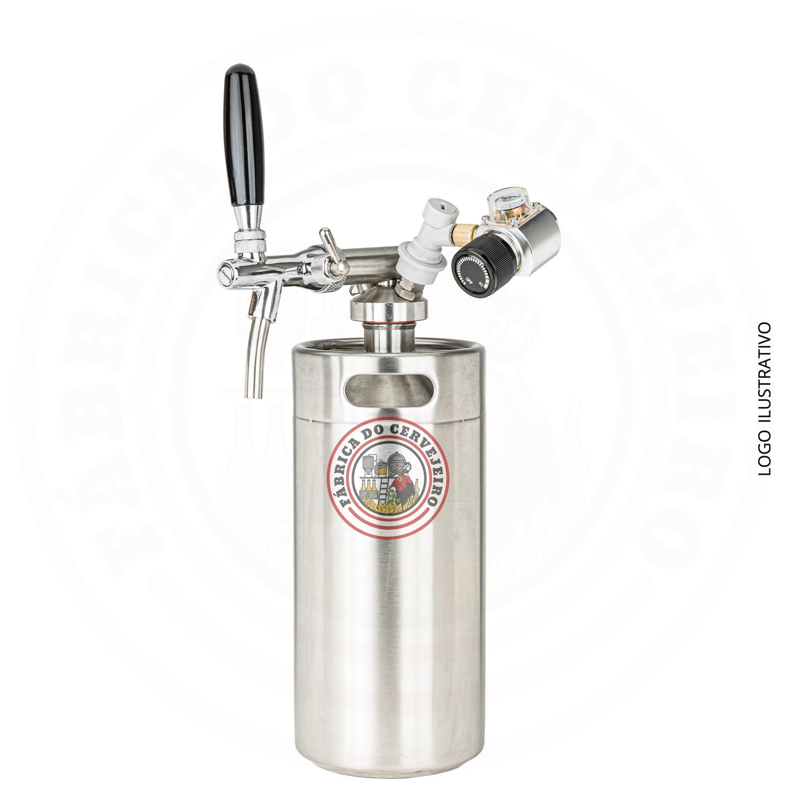 Kit mini keg growler 3,6L com torneira italiana e mini regulador profissional