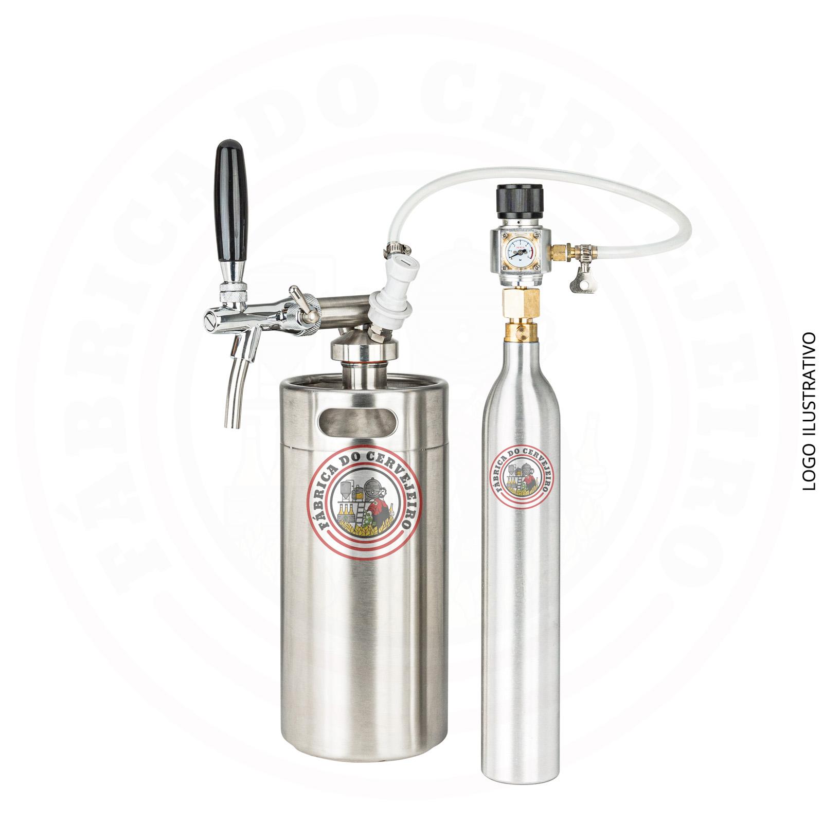 Kit mini keg growler 3,6L completo + kit extração com cilindro 425g e mini regulador profissional