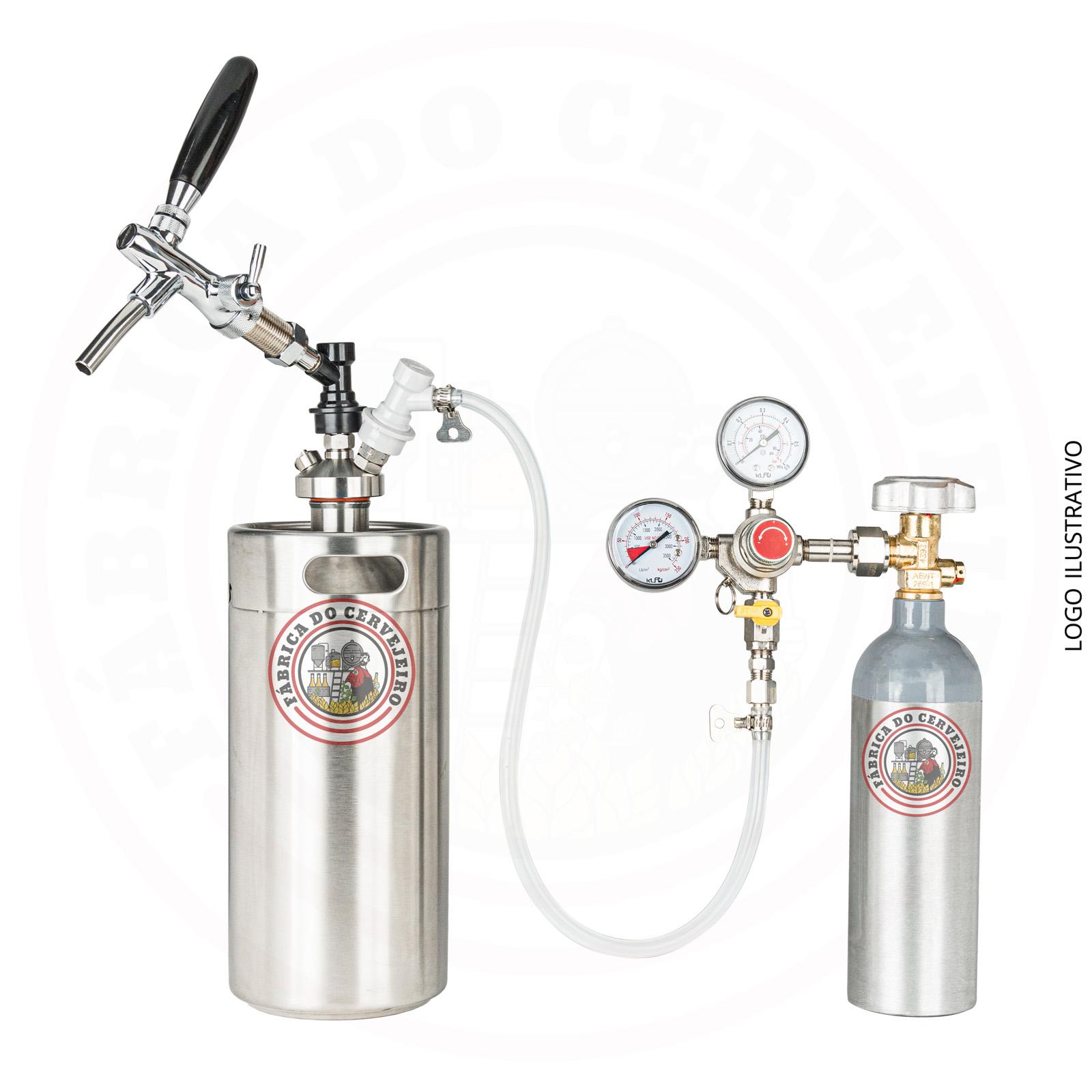 Kit mini keg growler 3,6L completo + kit extração com cilindro 600g e regulador de pressão