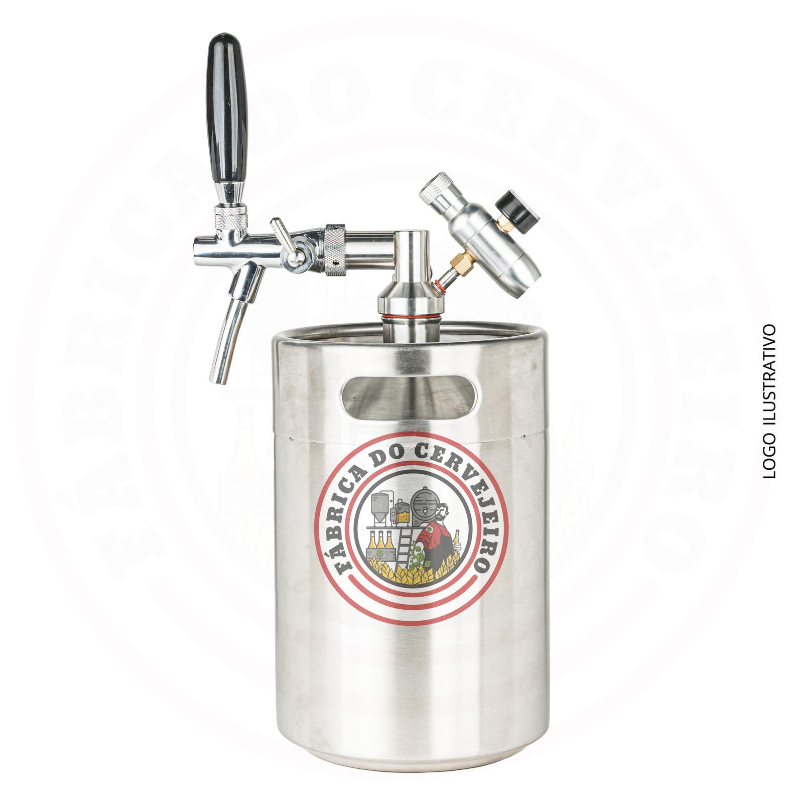 Kit mini keg growler 5L com torneira italiana e mini regulador