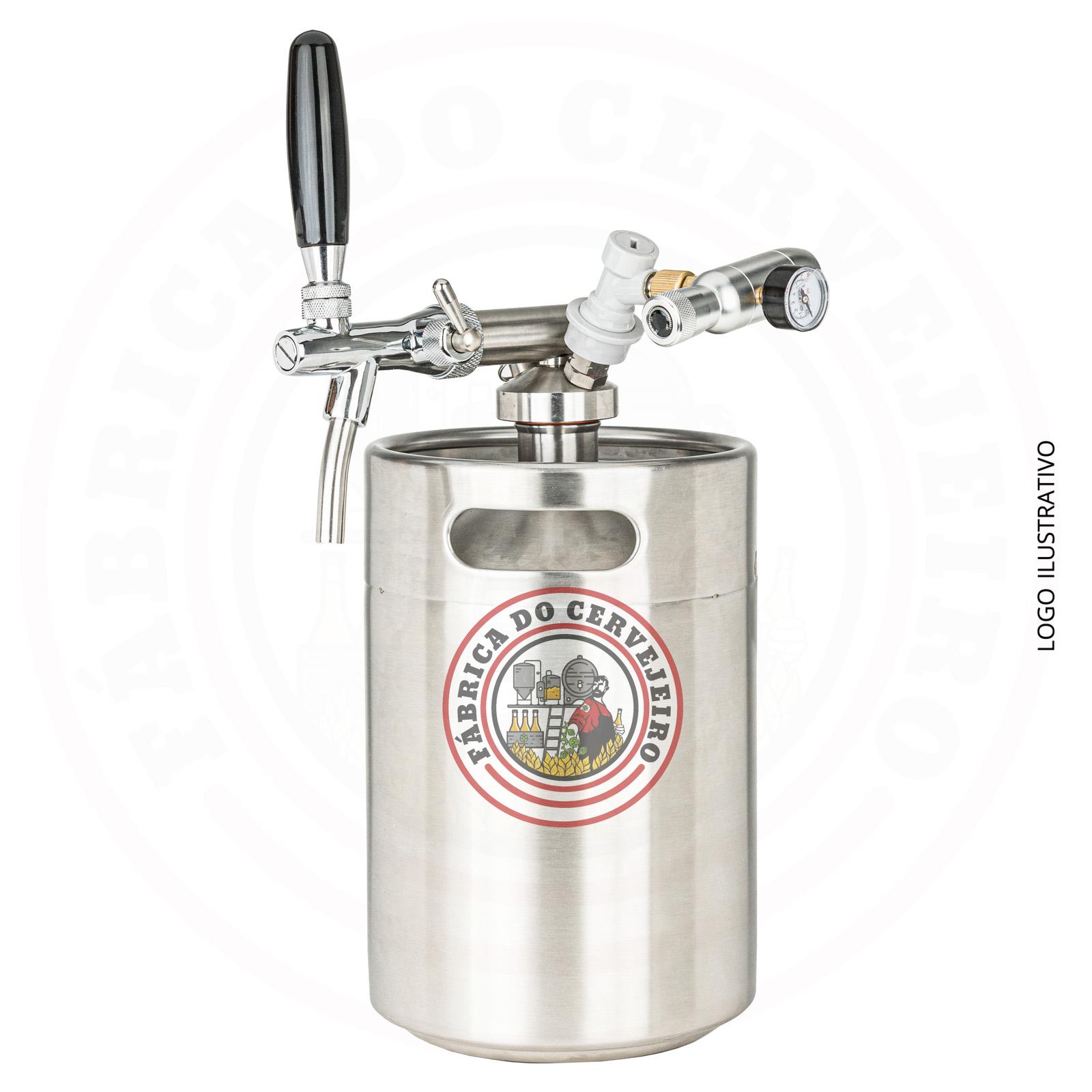Kit mini keg growler 5L com torneira italiana e mini regulador hobby