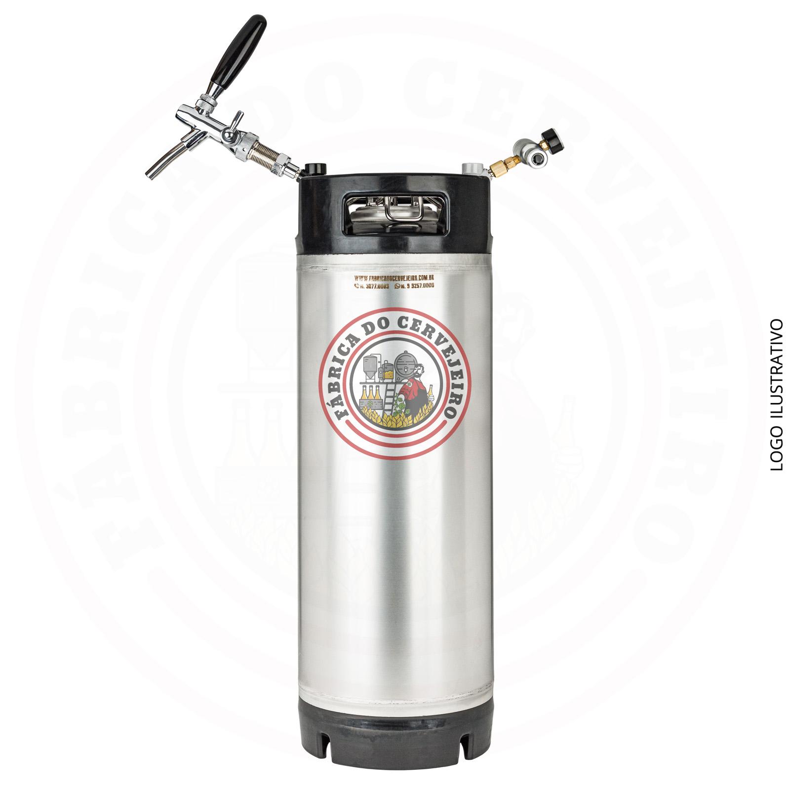 kit mini keg post mix 19L com torneira italiana e mini regulador hobby