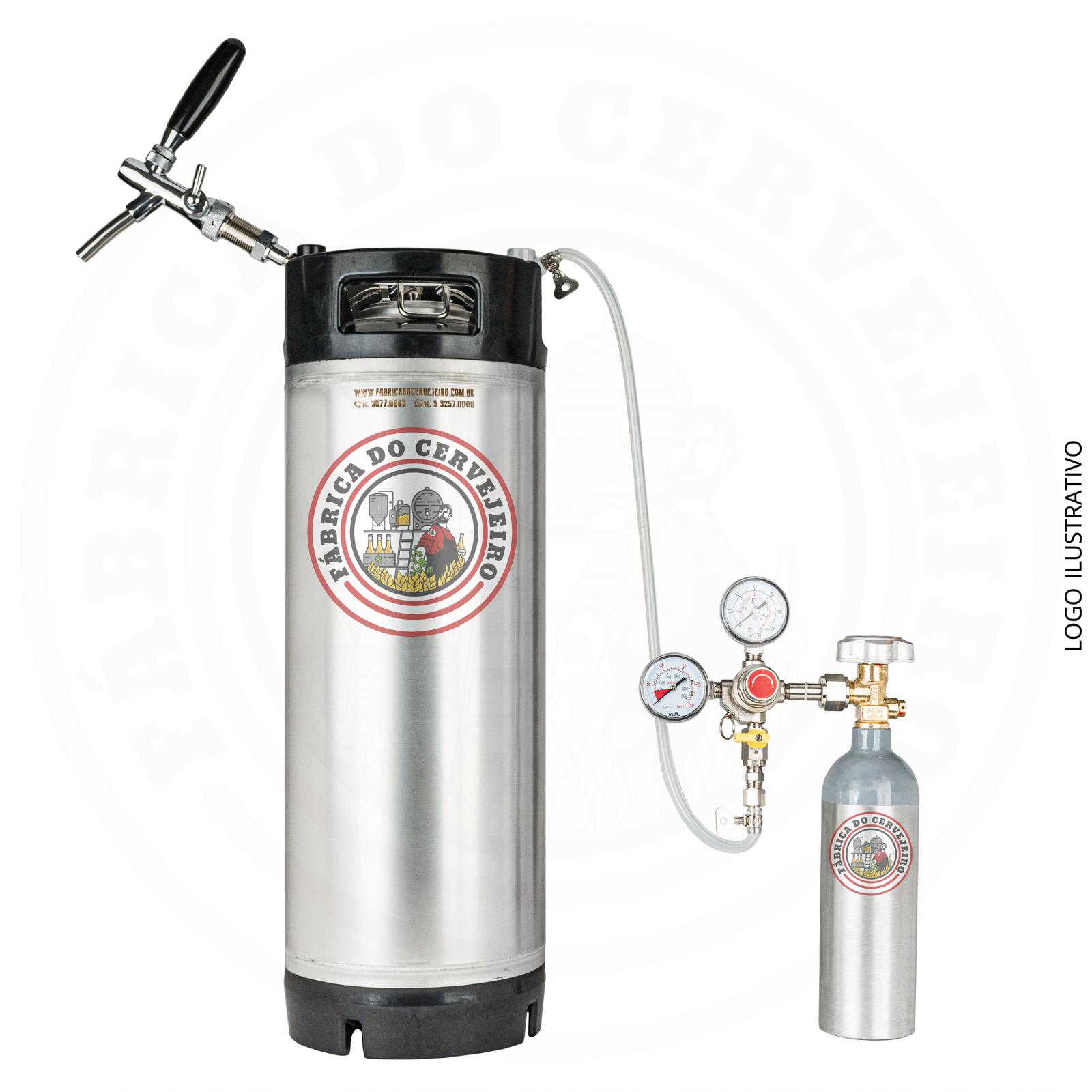 kit mini keg post mix 19L completo + kit extração com cilindro 600g e regulador de pressão