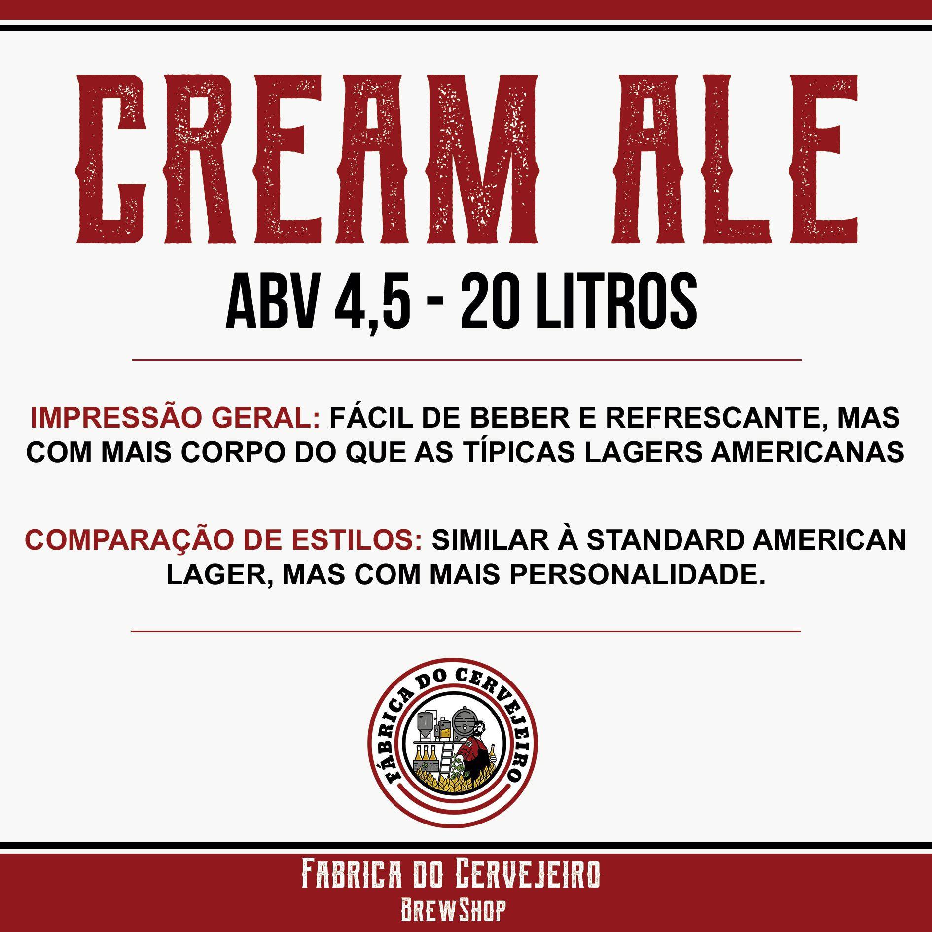 Kit Receitas Cerveja Artesanal 20l Cream Ale Light