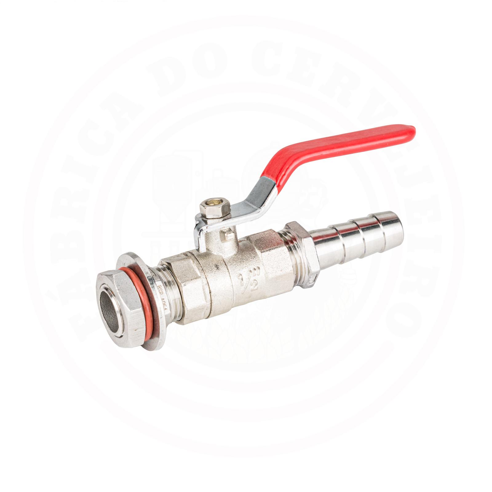 kit válvula / torneira latão cromado Monobloco de 1/2  com espigão para caldeirão / panela