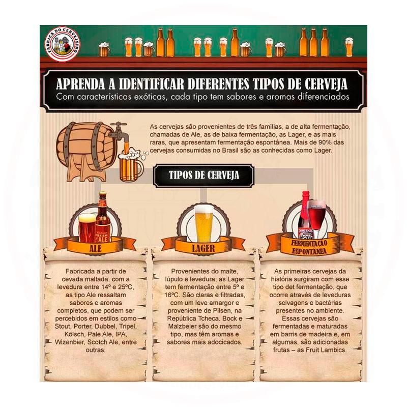 Quadro Decorativo Tema Identificando Tipos de Cerveja