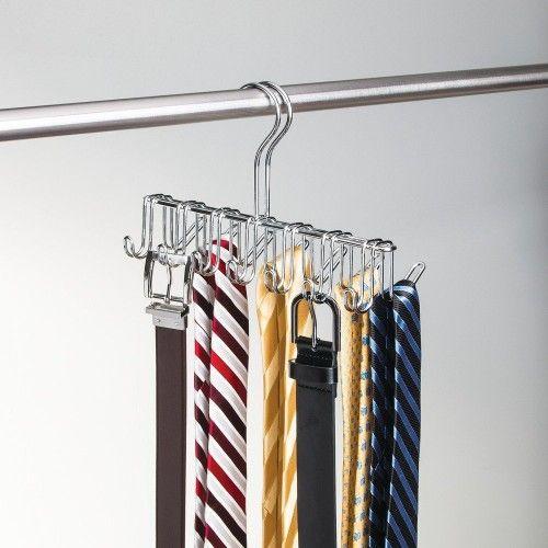 Cabide para Gravatas, Cintos, Bolsas e Lenços em Aço Cromado
