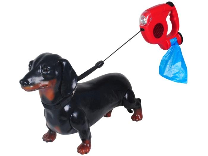 Guia para Cães Retrátil com Lanterna e Kit Higiênico