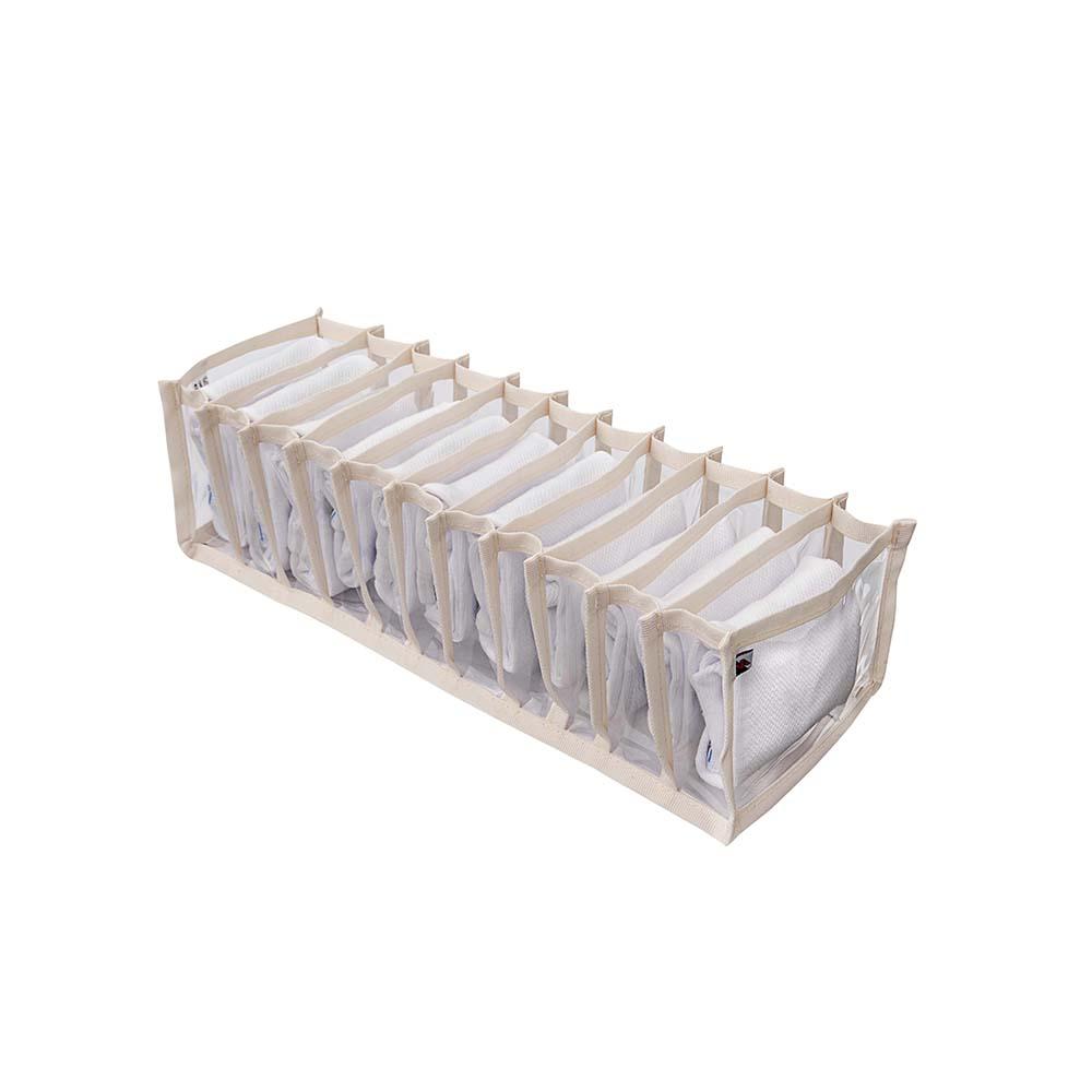 Kit 4 Colmeias Organizadoras de Gavetas-10x38x8,5cm - 11 nichos Bege