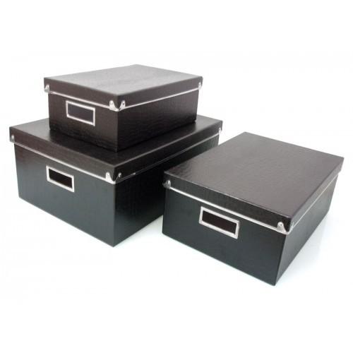 Kit com 3 Caixas Organizadoras Retangulares Croco