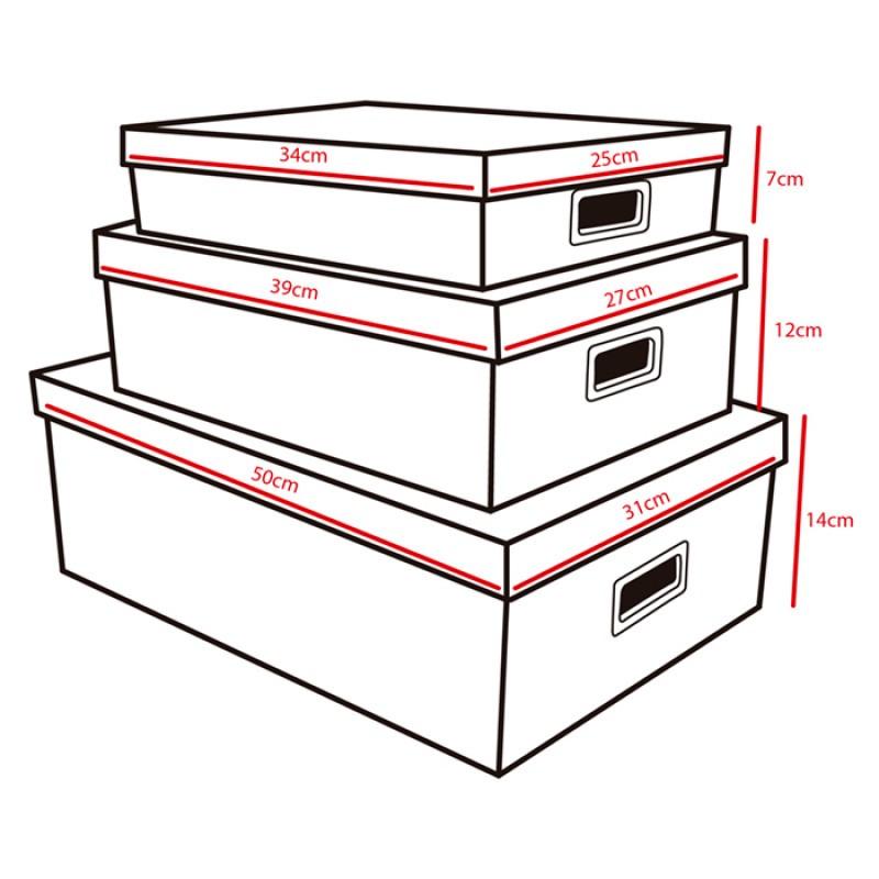 Kit Com 3 Caixas Organizadoras Retangulares Dandy
