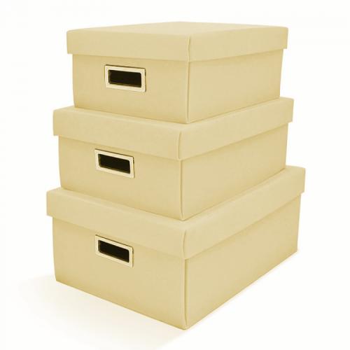 Kit Com 3 Caixas Organizadoras Retangulares Suede Bege
