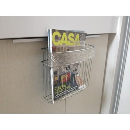 Porta Revistas para Banheiro - Aço Cromado