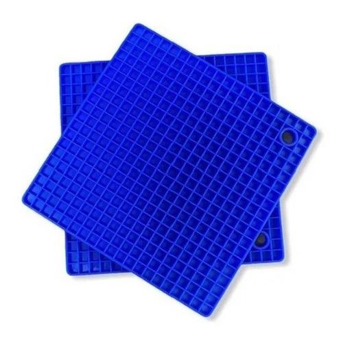 2 Unidades Apoio/descanso De Panela Silicone Azul Casavie
