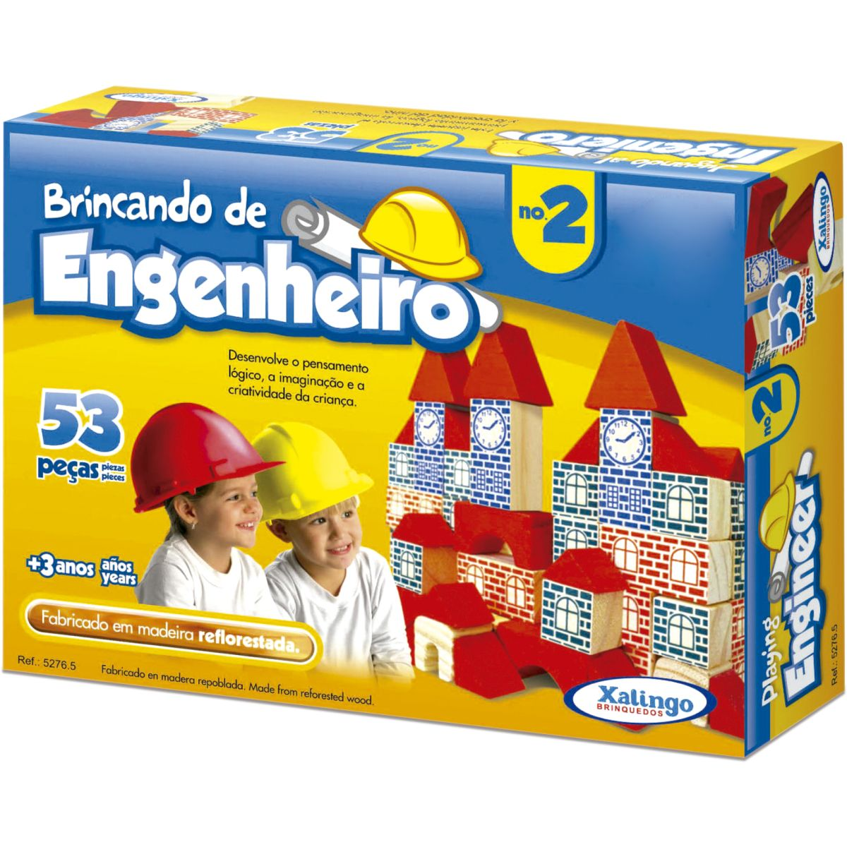 Brinquedo Pedagogico Madeira Brincando Engenheiro 2 53 Peças