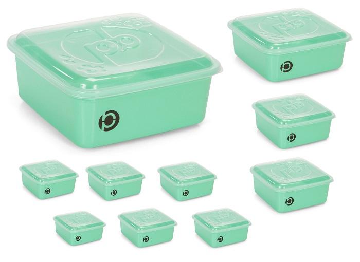 Kit 10 potes plásticos (estilo tupperware) Plastbon Quadrado 1038