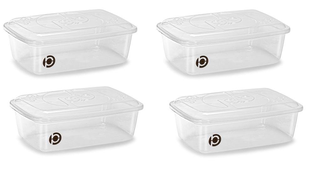 Kit 4 potes plásticos (estilo tupperware) Plastbon 1516